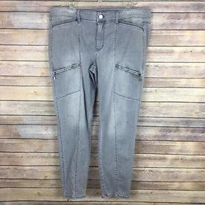 WHBM Sz 14 Gray Moto Skinny Ankle Jeans Zippers